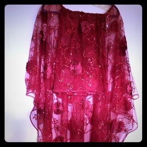 Red lace Ankara set